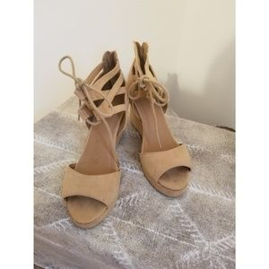 Nude Lace Up Wedge